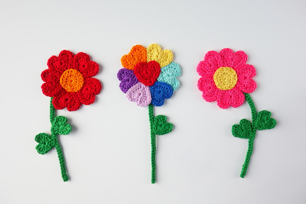 Crochet Heart Flowers | AllFreeCrochet.com