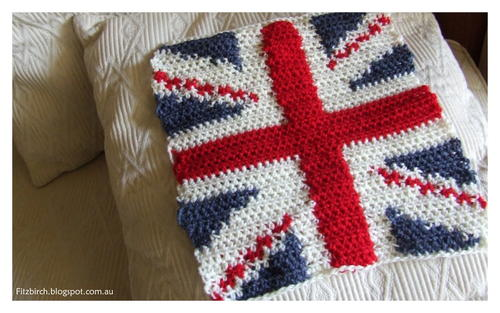 Cool Britannia Crochet Cushion Cover Allfreecrochet