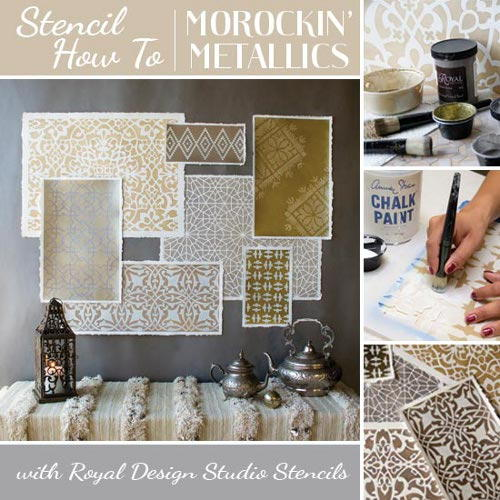 Metallic Moroccan Stencil Decor