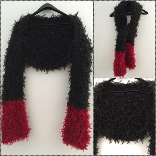 Red and Black Furry Shrug