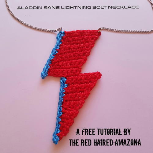 David Bowie Lightning Bolt Crochet Necklace Allfreecrochet