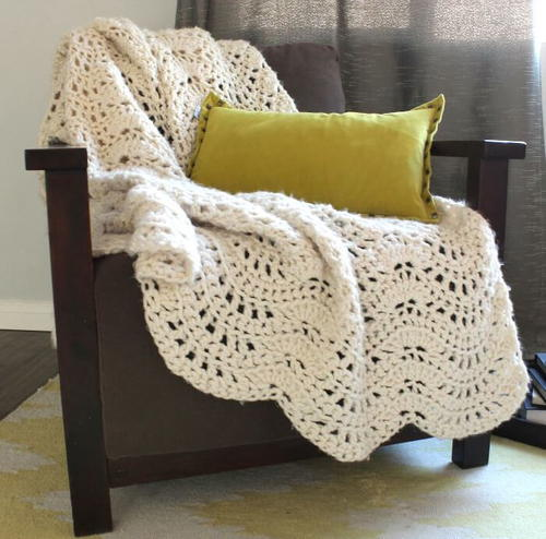 Cozy Feather And Fan Crochet Afghan Allfreecrochetafghanpatterns