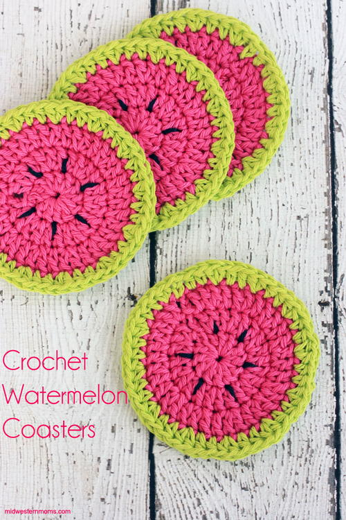 Watermelon Crochet Coasters