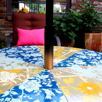 Vibrant Upcycled Patio Lounge Table