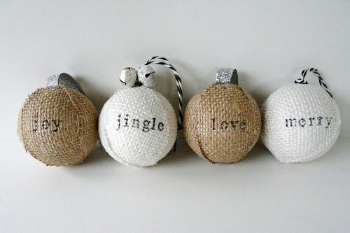 Stamped Burlap Ornaments
