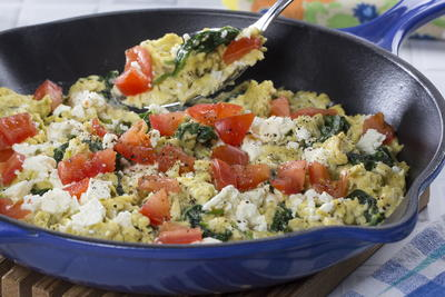 Spinach Feta Cheese Scramble
