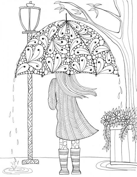 Prettiest Umbrella Girl Coloring Page Favecrafts Com