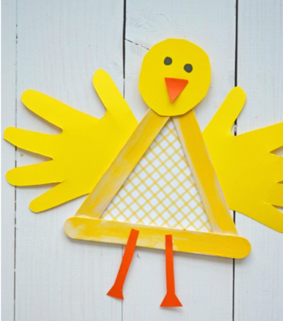 Popsicle Stick Baby Chicken Craft
