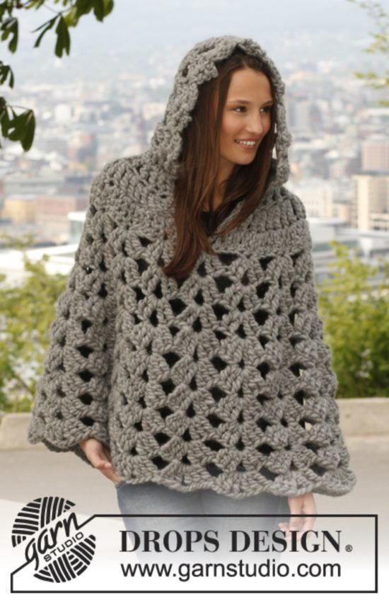 Thick and Neutral Crochet Poncho | AllFreeCrochet.com