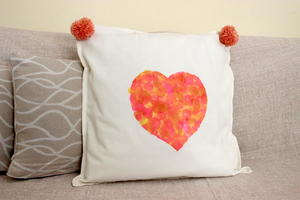 Heart Pom Pom Pillow