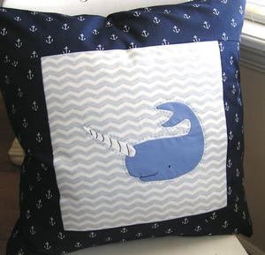 Arctic Narwhal Applique Pillow