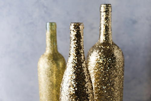 Glittering Wine Bottle Centerpiece