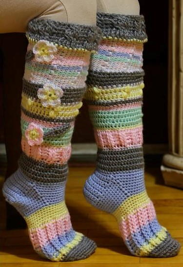 Colorful Knee High Socks AllFreeCrochet Fascinating Crochet Sock Pattern