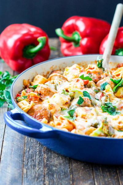 One Skillet Chicken Sausage and Tortellini