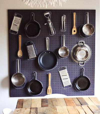 DIY Kitchen Wall Organization