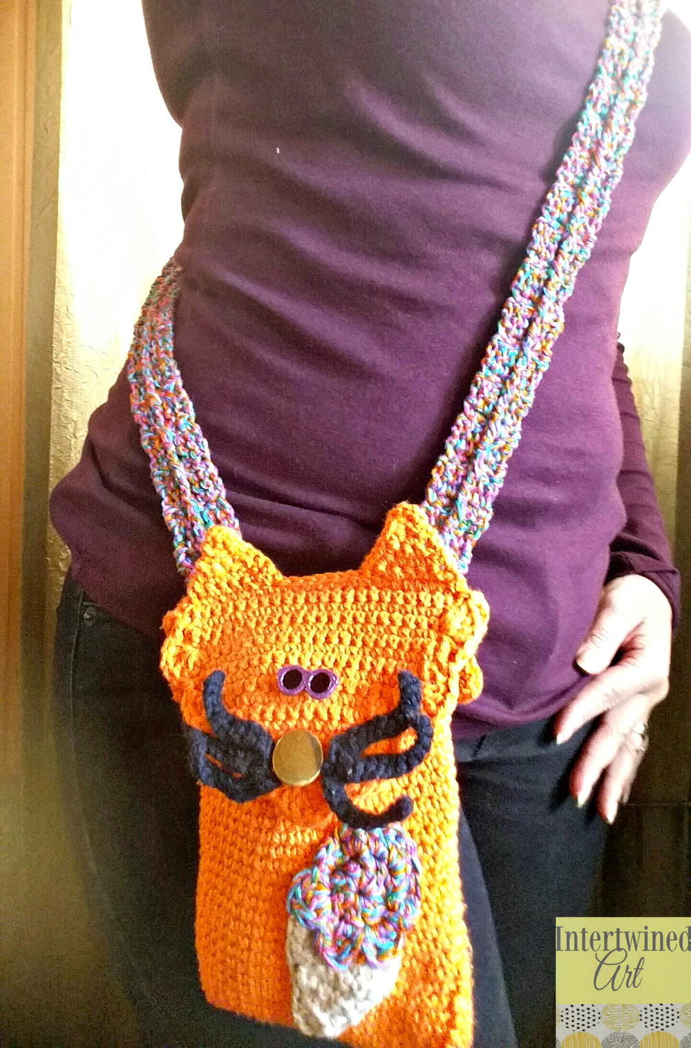 Sherbert The Cat Crochet Mini Hipster Crossbody Allfreecrochet