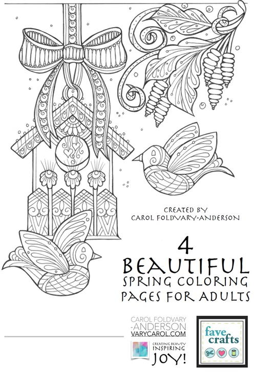 4 Beautiful Spring Coloring Pages for Adults FaveCraftscom