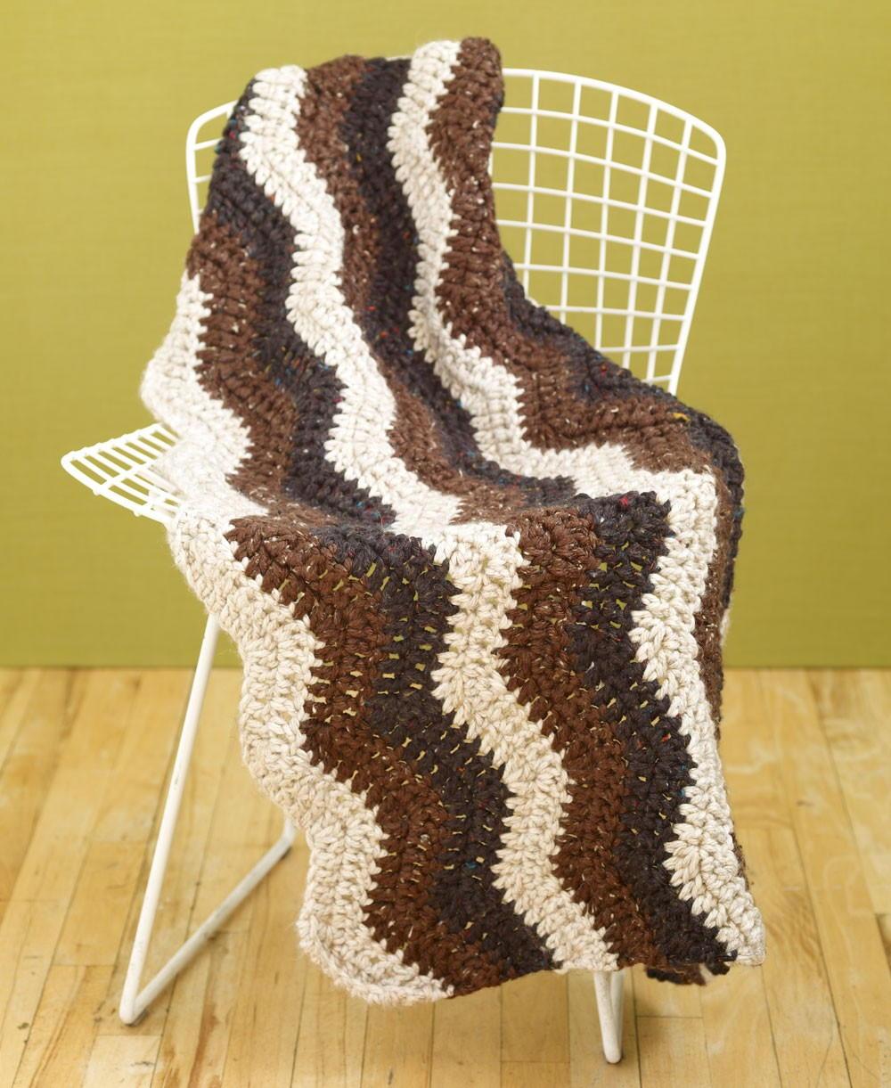 Rustic Ripple Crochet Afghan Allfreecrochet