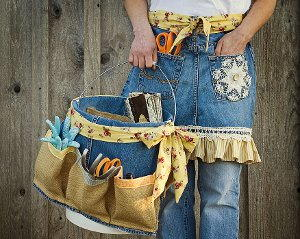 Denim Apron and Basket for Mom