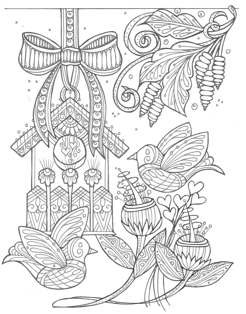 spring coloring pages for adults | Birds and Flowers Spring Coloring Page | FaveCrafts.com