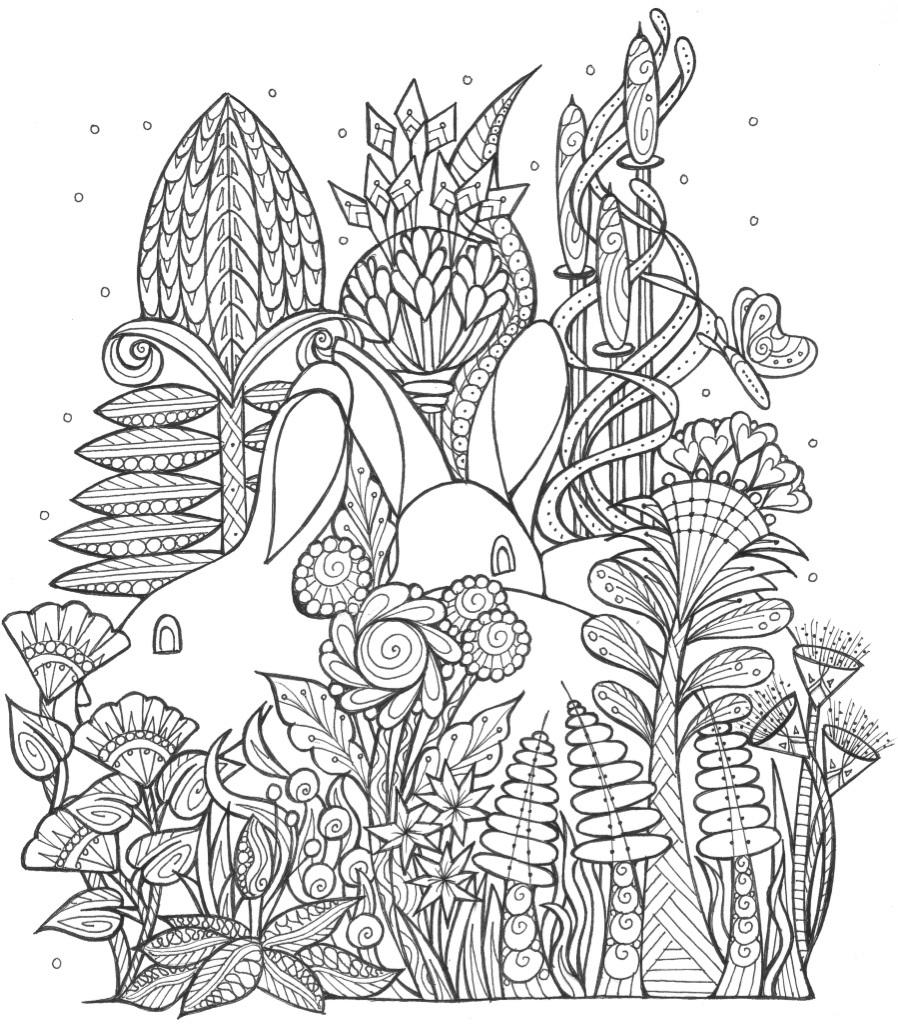 Spring bunny coloring page for Spring garden coloring pages