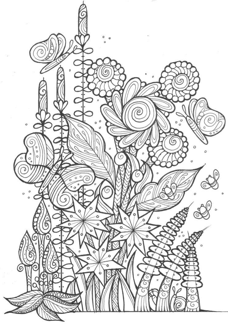 Butterflies And Bees Adult Coloring Page Favecrafts Com