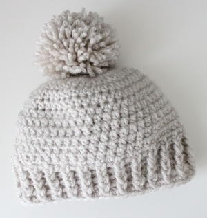 Crocheted Ribbed Beanie Hat