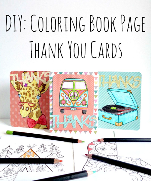 DIY Coloring Book Page Thank You Cards | FaveCrafts.com
