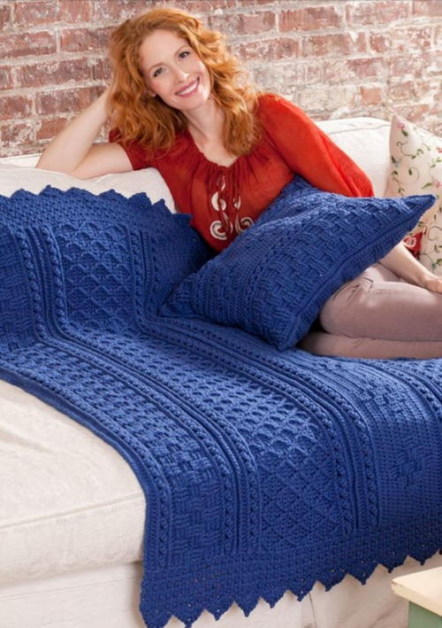 Blueberry Mornings Basketweave Crochet Afghan  Pillow