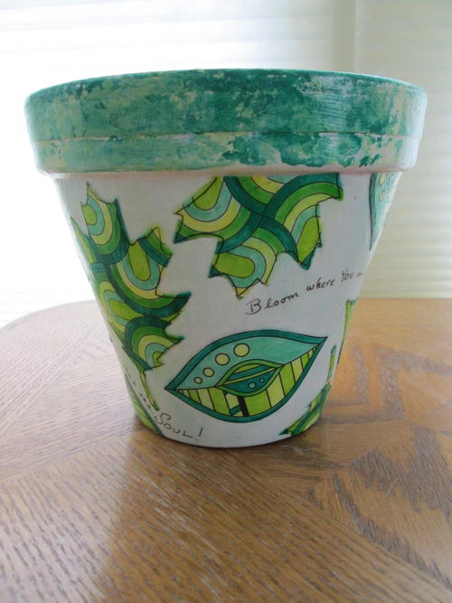 Bloom Where You Are Planted Decoupage Flower Pot