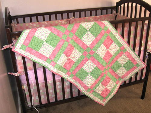 Springtime Disappearing Nine Patch Baby Quilt   FaveQuilts.com : twisted nine patch quilt pattern free - Adamdwight.com