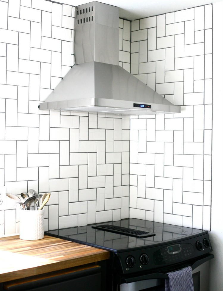 Straight Herringbone Tile Backsplash Tutorial