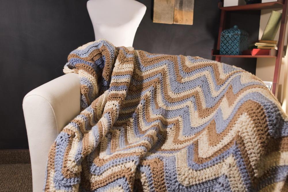 Tricolored Crochet Chevron Afghan Pattern Allfreecrochet