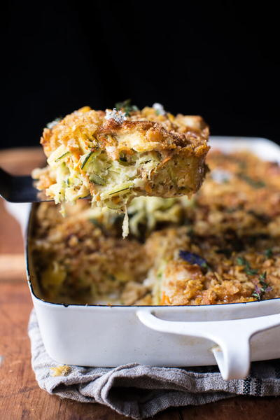Lightened-Up Chicken Zucchini Noodle Casserole
