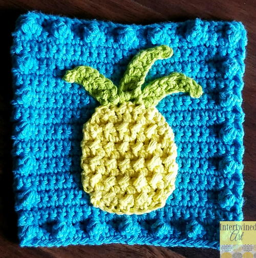 Pineapple Applique Blanket Square Allfreecrochet