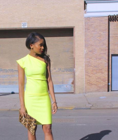 Bright DIY One Shoulder Dress