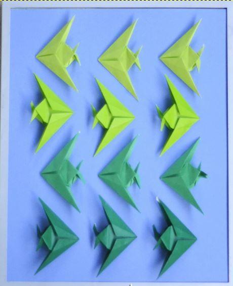 Ombre Fish Origami Art Allfreepapercrafts