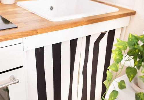 Easy Sew DIY Sink Curtains