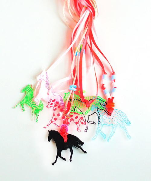 Fun Horse Shrink Plastic Necklace