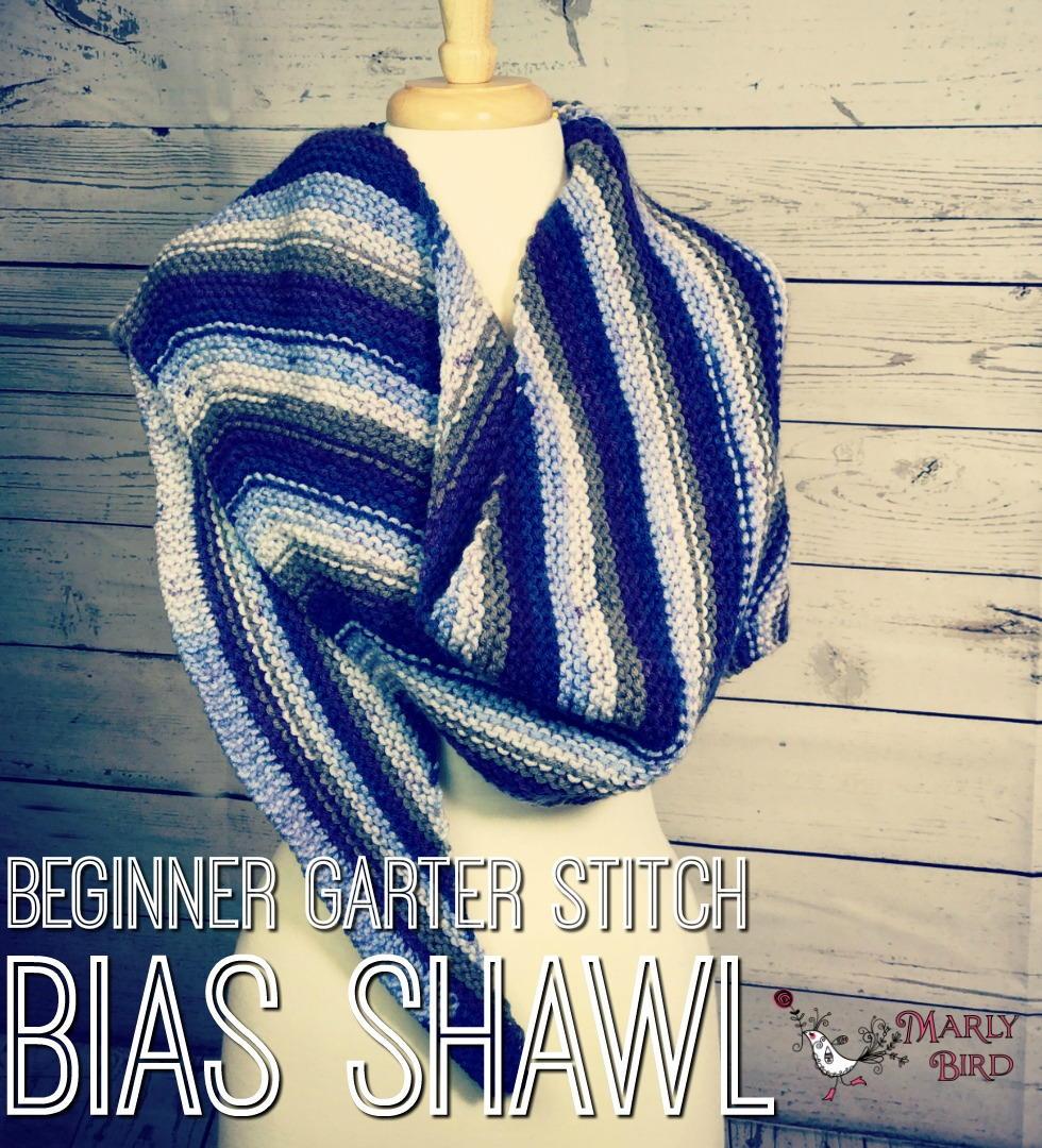Beginner Garter Stitch Bias Shawl | AllFreeKnitting.com