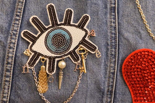 DIY Bejeweled Sequin Patch Pins
