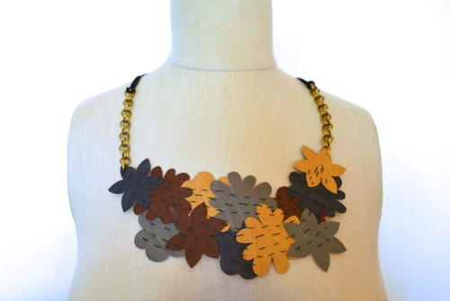 DIY Faux Leather Statement Necklace