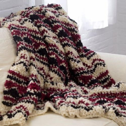 Crochet Soft Wave Chevron Throw
