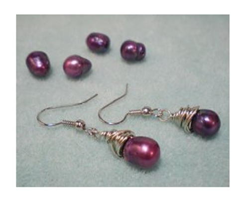 Funky Purple Pearl Earrings