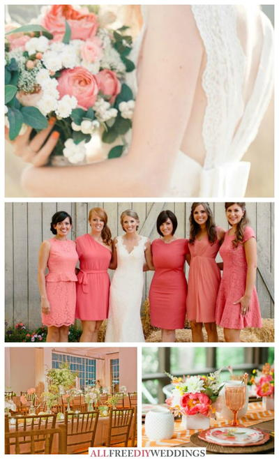 Wedding Colors Schemes: Coral and Green