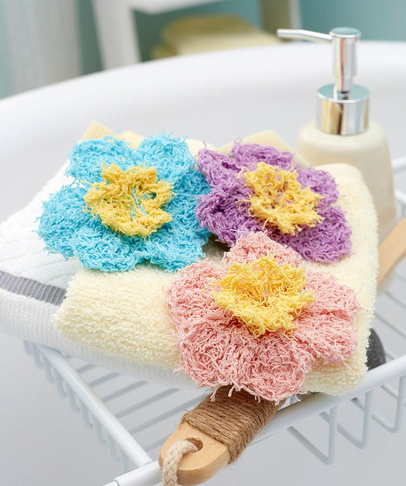 Prettiest Flower Crocheted Scrubbies Pattern | FaveCrafts.com