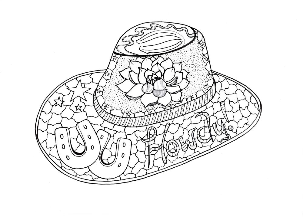 Howdy Cowboy Adult Coloring Page