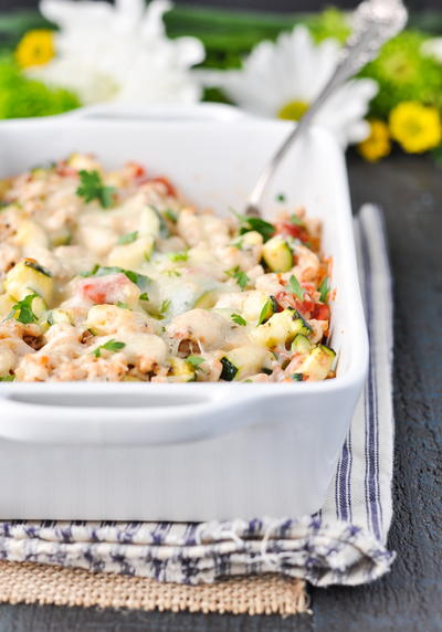 Cheesy Turkey, Tomato and Zucchini Casserole