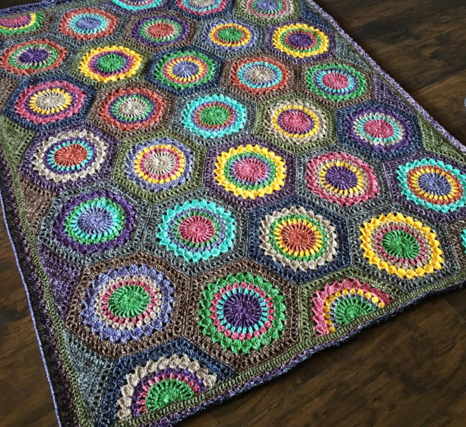 Hexagon Burst Crochet Blanket Pattern