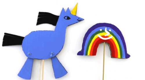 Dancing Unicorn and Rainbow Stick Puppets